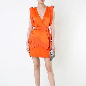 Mugler Orange Cady And Satin Mini Dress